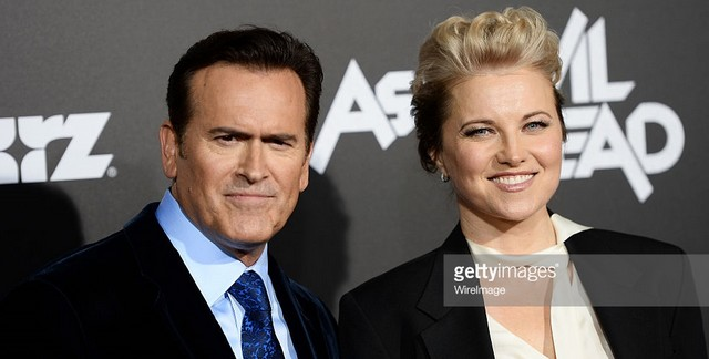 lucy lawless and bruce campbell at premiere ash vs evil dead